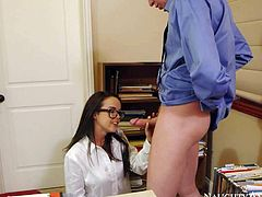 Nerdy looking brunette bookworm Dillon Harper with big glasses and smoking hot slim body takes off white bra and short denim skirt before Mark Wood nails her from behind