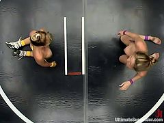 Which of the blondes will win this fight in a wrestling combat to see who gets to fuck the other's pussy with a strapon and toys?