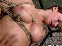 Horn made busty MILF gets her bald cunt nailed with thick dildo in BDSM sex clip