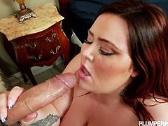 Watch the naughty and busty brunette bbw Mandy Majestic giving some head before getting banged doggy style. Those tits of hers are spectacularly big!