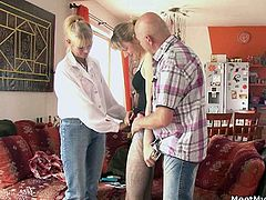 Kinky girlfriend has a trio with the parents