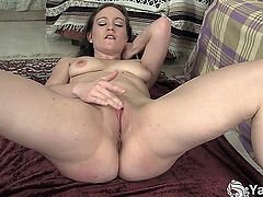 Amazing brunette flexible babe Lou masturbating her slick cooshie on the carpet