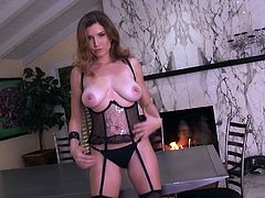 Alluring model in black lingerie gives stunning and unique solo masturbation show