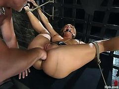 Venus the sexy blonde gets whipped by Mark Davis. Then she sucks his huge dick and gets her pussy tortured with clothespins. Later on she gets fucked and fisted.