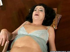 Hot blooded shabby brunette grandma lies on her back with legs spread wide while a rapacious daddy pokes her bearded pussy with dildo attached to drill in perverse sex video by 21 Sextury.