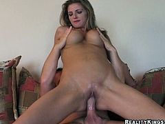 Nasty chick meets a motorcyclist on the road on the way home. She invites him to her house and fucks him there. She gives passionate blowjob and then gets her wet pussy fucked hard.