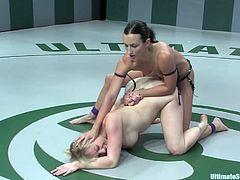Press play on this hot Ultimate Surrender clip and watch these horny lesbian wrestlers where you'll see them having sex in the ring.