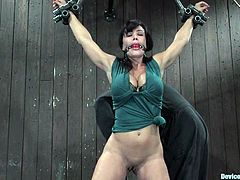 The big breasted MILF Lisa Ann is getting some bondage for her repertoire, as she gets toyed, nipple tortured and forced to orgasm.