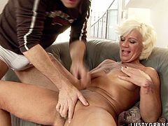 This ugly mature woman knows how to get a man's attention. She spreads her legs wide to let her lover appreciate her hairy snatch. Her ass needs love, too, so he fingers her butthole fervently until she cums.