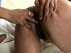 Horny mature slut is working as a cleaning lady at this house. She seduces the guy for sex so she bounces her fat ass on a solid prick of young guy. Later she is screwed hard in her twat doggy style.