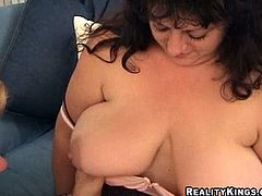 A chunky broad sucks on a hard dick, gets big tits licked and sucked and there's some face-sitting too, check it out! It's dirty!