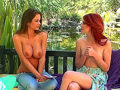 Elle Alexandra and her cute girlfriend are having kinky fun outdoors. They both show off their boobs and have some naughty lesbian fun with them.