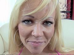 After giving one amazing blowjob, blonde beauty gets her mouth filled with cream