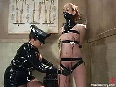 Betka Schpitz gets her coochie toyed by a latex dominatrix Smokie Flame