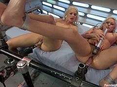 Amazing blonde cuties Katie Summers and Princess Donna Dolore lick and rub each other's vaginas and get horny. Then they play with a fucking machine and can't help but moan loudly.
