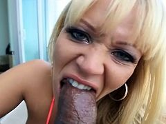 Austin Taylor has her snatch eaten before she sucks cock. Then, she takes this guy's big black cock deep inside her cunt.