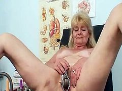 Blonde grandma visits gyno clinic to have her old grunt checked not far from speculum. the kinky doctor performs an enema nearly milk