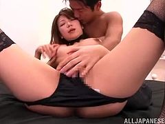This desirable and delicious babe Yuuka Minase gives her dude a blowjob and now he does his best to make her reach orgasm!