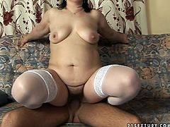 Kinky momma rides cock of one young nextdoor dude while her husband is out. She is hot tempered mature whore who has a very insatiable hairy pussy.