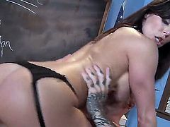 Kendra rides this fella reverse cowgirl style, but not before giving him one of the best tit-jobs Ive ever seen. So, if you wanna see some real porn stars in action, have at it.