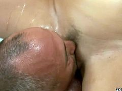 Bosomy whorish brunette slut gives face sitting to rapacious bald dad before she sits in front of him letting him fist her punani until he jizzes inside her mouth in sizzling hot sex video by 21 Sextury.
