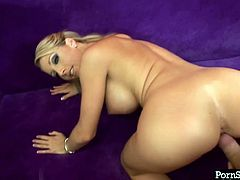 Splendid blonde girl Barbie Cummings has got huge boobs. She gives hot blowjob and titjob in POV. Later sexy doll bends over the couch getting hammered hard doggy style. Extremely arousing porn clip presented by Porn star.
