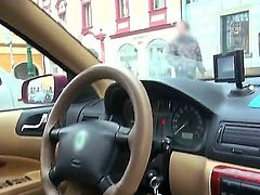 Obscene slag Natali Blue takes a ride in a taxi and pays the driver by sucking his hard cock