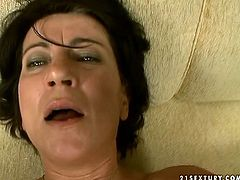 While her husband is at work slutty amateur brunette goes wild and fucks like mad on the couch. Rather flexible mature brunette enjoys being fucked missionary and repays a stranger with a solid blowjob for sperm.