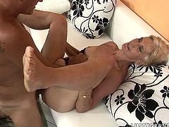 Peppering blond mom clings to mini dick of aroused dad to suck it zealously before she gets her bearded pussy rubbed and later impaled in missionary style in sultry sex video by 21 Sextury.
