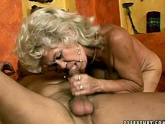 This old granny is madly horny bitch with bearded clam. She is flitting her clitoris while riding big dick actively. Then she bends over getting hammered hard from behind. Dirty porn video with slutty granny.