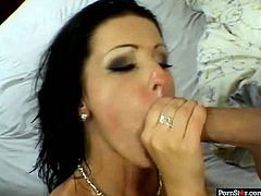 Insatiable brunette serves two dudes at the same time. She has two hell working holes for doing it. At the end of steamy 3some sex she gets cumshots on her face.