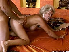 Hussy granny with bushy pussy is caressing her tits while queer dude is toy fucking her. Then old granny stands on her all four getting rammed hard doggy style.