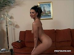 Gorgeous brunette Simony Diamond strips and shows her beautiful bodu to some guy. Then she kneels in front of him and milks his dick dry in her mouth.
