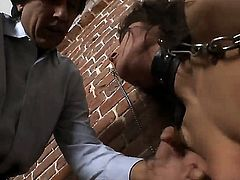 Kinky babe Savanah Secret sucks on Steve Holmes big fat dick while tied with chains. After being mouth fucked hard she feasts on his ass before he is fully satisfied.