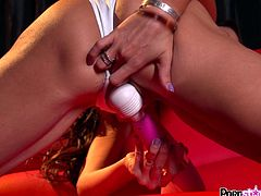 Having her shaved twat stimulated by a large vibrator makes Trinity St Clair to feel amazing