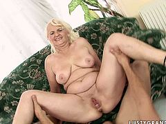 Kinky blond haired bitch with droopy tits and big ugly ass spreads plump legs as wide as she can to get her wet mature cunt fucked missionary. Spoiled pale fatso can do nothing but moan like a mad one of delight.