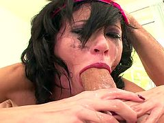 Having such cock going deep down her throat turns hottie into a wild babe