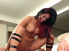 Gorgeous brunette babe Eva Angelina will make your jaw hit the floor as she opens her legs and gets her sweet shaved pussy pounded by horny bold guy. Babe gets super wet till orgasm, check it out!