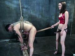 Tied Up Dude Gets a Cock Ride after Getting Strapon Fucked by Raven Alexis