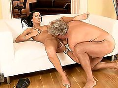 Hot raven haired babe Shalina Divine gets her pussy licked by an older dude. She decides to reward him by riding on his fat pulsating dick until he cums.