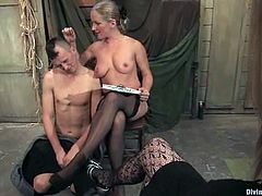 Dia Zerva is going to fuck this guy and give him fisting in this femdom session packed with bondage and torturing action.