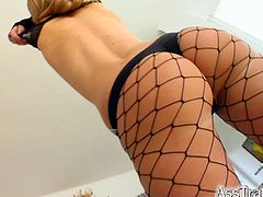 Petra is a saucy blonde with hot legs clad in fishnet stockings. Watch her getting dped while another dude bangs her mouth. They all get their chance to drill her tight booty.