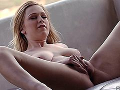 Beautiful natural blonde rubs her juicy pussy to an amazing pulsing orgasm with her fingers.
