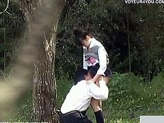 Dating couples were caught flirting after school. He takes her clothes off slowly and wants to lick her tight asian pussy like crazy!