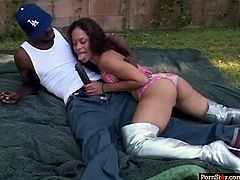 This outdoor interracial sex tube video is everything your lust desires.Hot and agreeable to fuck babe sucks and rides dick of one big black dude.