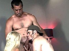 If you want to see a gorgeous psexy blonde and some manly looking fellow both taking turns sucking a long, thick cock, then this is, without a doubt, the clip for you, friend.