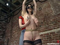 A brunette girl is getting toyed and tortured with other kinky devices in this bondage lesbian video packed with naughty action.
