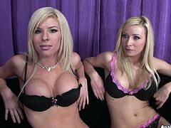 Two busty sluts Helena Sweet and Kenzie Marie shows off boobs