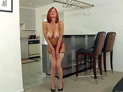 Veronica Avluv is a 4 year old red-haired leggy pornstar. She demonstrates her amazing firm ass and shaved pussy before she gives mouth job from your point of view. Veronica Avluv is incredibly hot!