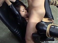 Check this angelic babe Shiori Kamisak out! She is being slaved today and fucked in a tight bondage! Well, seems like babe is loving it!